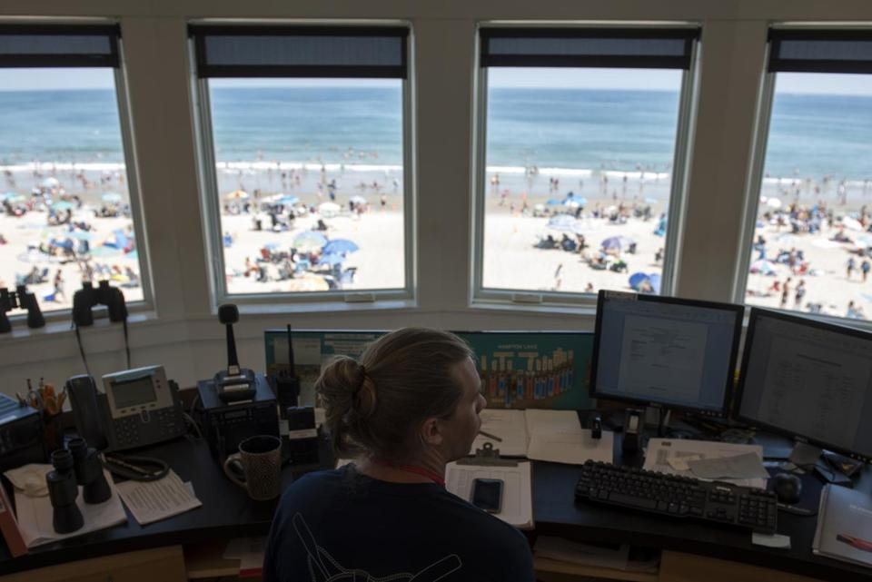The view from the main lifeguard station at Hampton Beach on Friday.